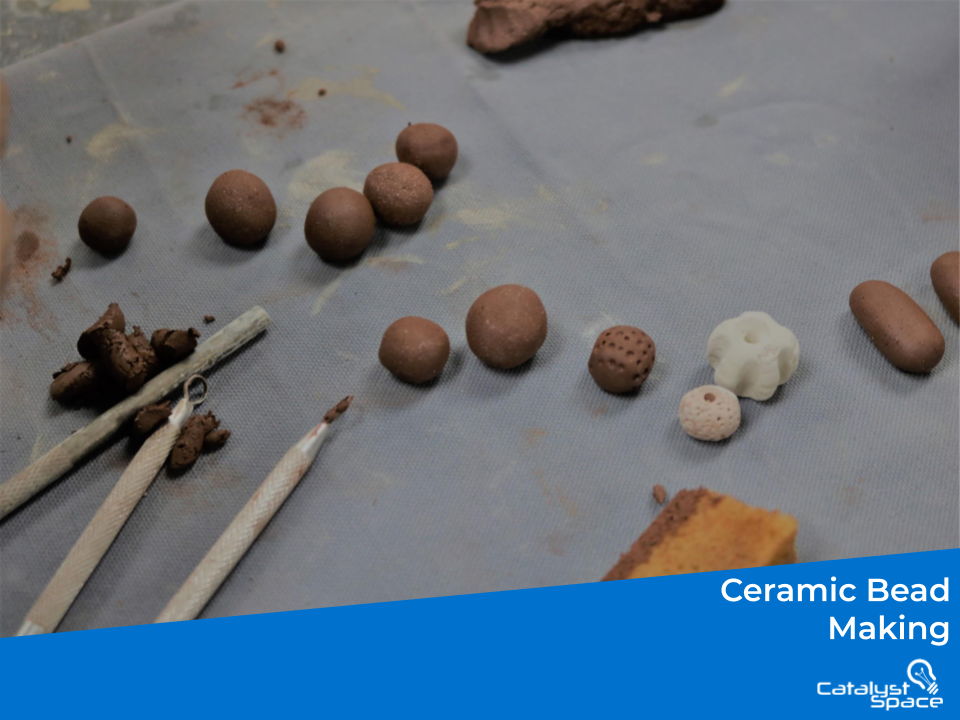 diy ceramic bead making and the tools on display for this class.