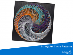 String art is the process of nailing nails part way into a board then using string to connect the tops of the nail from point to point until the image is filled in. In this class the string is carefully arranged to create an illusionary pattern.
